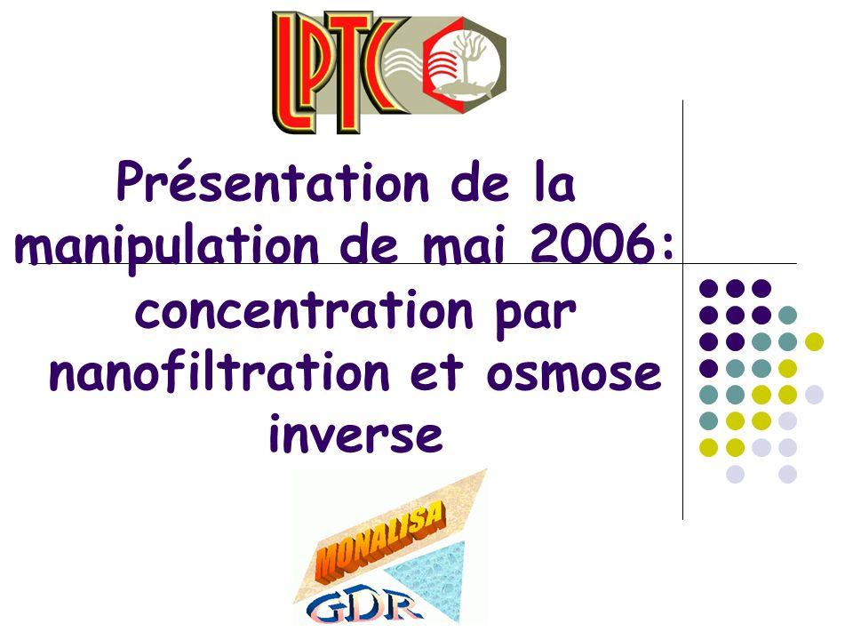 Présentation de la manipulation de mai 2006: concentration par nanofiltration et osmose inverse