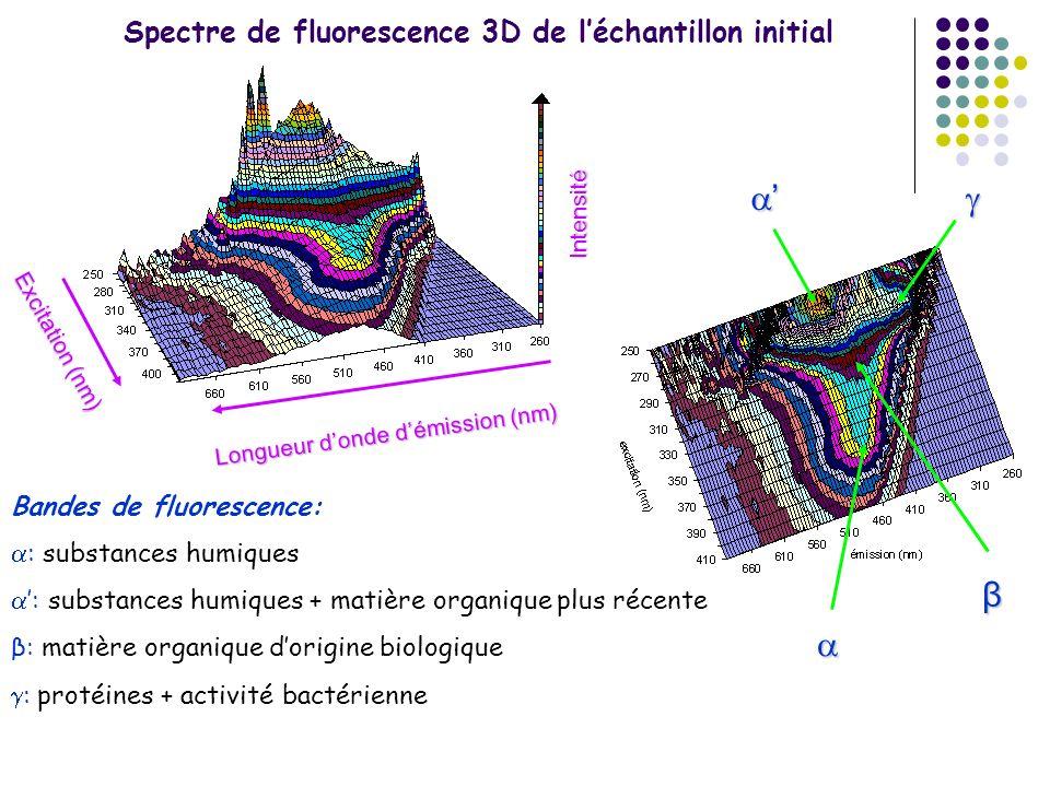 Spectre de fluorescence 3D de léchantillon initial Longueur donde démission (nm) Excitation (nm) Intensité β Bandes de fluorescence: : substances humi