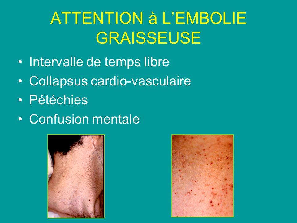 ATTENTION à LEMBOLIE GRAISSEUSE Intervalle de temps libre Collapsus cardio-vasculaire Pétéchies Confusion mentale
