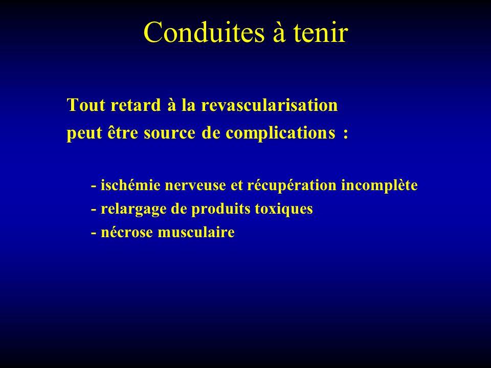Conduites à tenir Tout retard à la revascularisation peut être source de complications : - ischémie nerveuse et récupération incomplète - relargage de