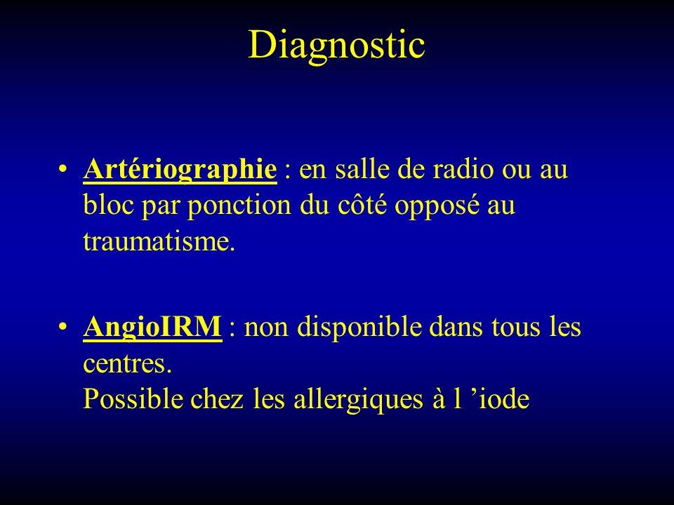 Diagnostic Artériographie : en salle de radio ou au bloc par ponction du côté opposé au traumatisme. AngioIRM : non disponible dans tous les centres.