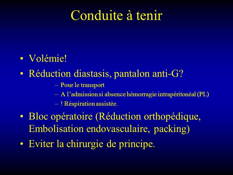 Conduite à tenir Volémie! Réduction diastasis, pantalon anti-G? –Pour le transport –A ladmission si absence hémorragie intrapéritonéal (PL) –! Réspira