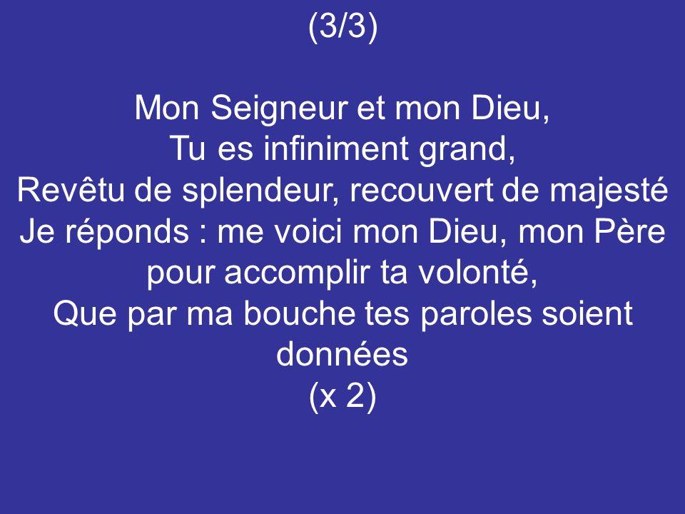 (3/3) Mon Seigneur et mon Dieu, Tu es infiniment grand, Revêtu de splendeur, recouvert de majesté Je réponds : me voici mon Dieu, mon Père pour accomp