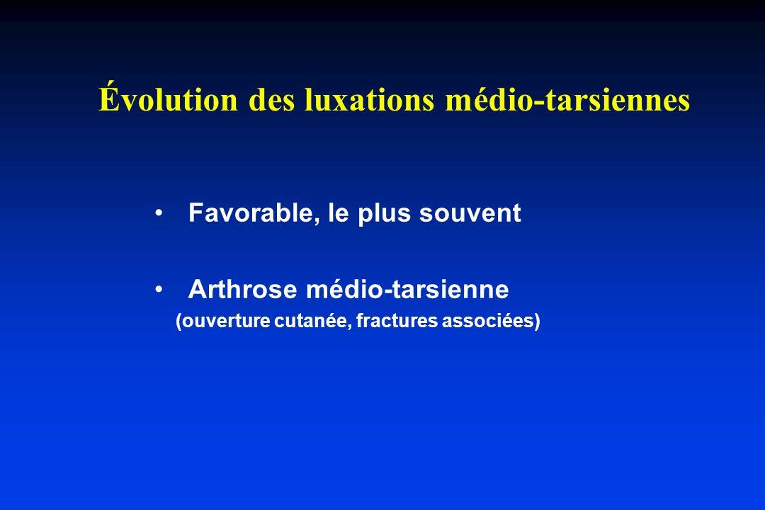 Favorable, le plus souvent Arthrose médio-tarsienne (ouverture cutanée, fractures associées) Évolution des luxations médio-tarsiennes