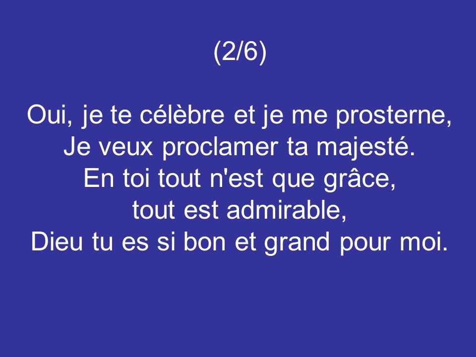 (2/6) Oui, je te célèbre et je me prosterne, Je veux proclamer ta majesté. En toi tout n'est que grâce, tout est admirable, Dieu tu es si bon et grand