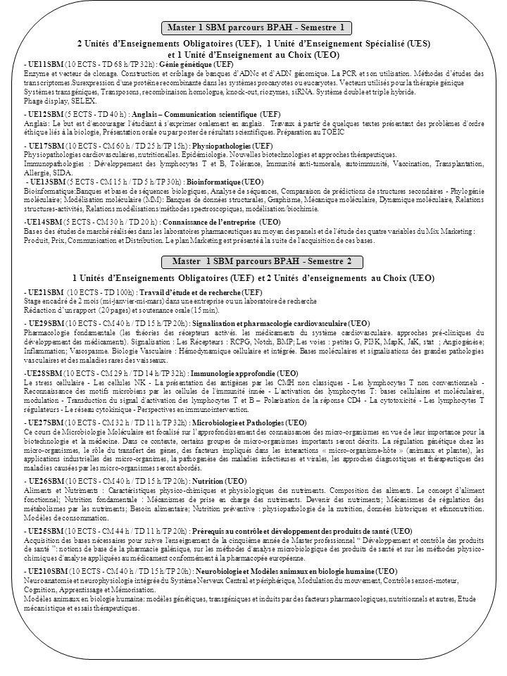 2 Unités dEnseignements Obligatoires (UEF), 1 Unité dEnseignement Spécialisé (UES) et 1 Unité dEnseignement au Choix (UEO) - UE11SBM (10 ECTS - TD 68