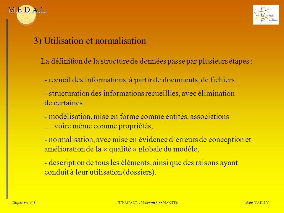 La définition de la structure de données passe par plusieurs étapes : Alain VAILLY Diapositive n° 8 IUP MIAGE - Université de NANTES M.E.D.A.L.