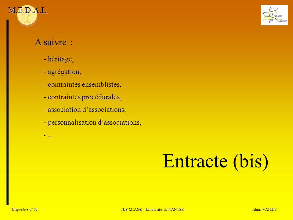 Alain VAILLY Diapositive n° 88 IUP MIAGE - Université de NANTES M.E.D.A.L.