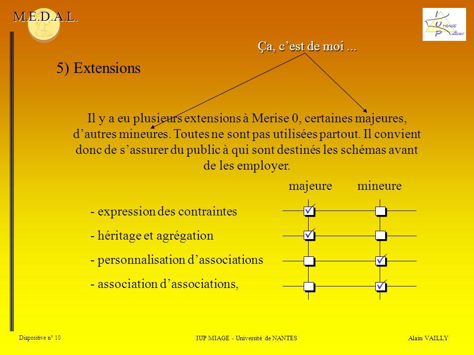 Il y a eu plusieurs extensions à Merise 0, certaines majeures, dautres mineures. Toutes ne sont pas utilisées partout. Il convient donc de sassurer du