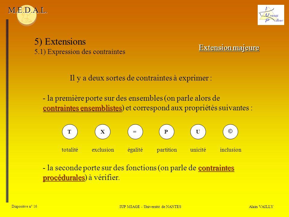 Alain VAILLY Diapositive n° 16 IUP MIAGE - Université de NANTES M.E.D.A.L. 5) Extensions 5.1) Expression des contraintes Extension majeure Il y a deux