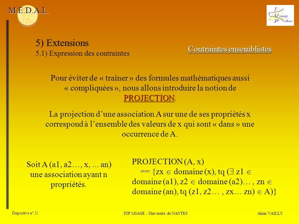 Alain VAILLY Diapositive n° 21 IUP MIAGE - Université de NANTES M.E.D.A.L. 5) Extensions 5.1) Expression des contraintes Contraintes ensemblistes PROJ