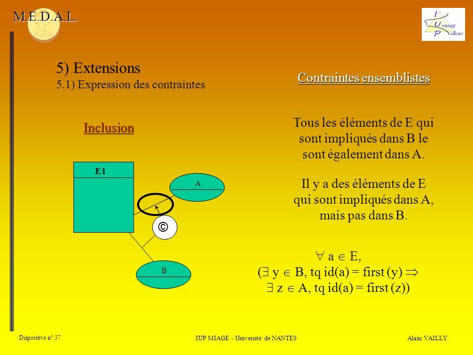 Alain VAILLY Diapositive n° 37 IUP MIAGE - Université de NANTES M.E.D.A.L. 5) Extensions 5.1) Expression des contraintes Contraintes ensemblistes Incl