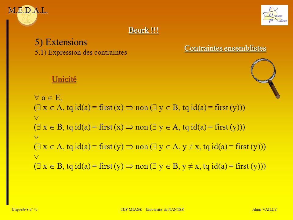 Alain VAILLY Diapositive n° 43 IUP MIAGE - Université de NANTES M.E.D.A.L. 5) Extensions 5.1) Expression des contraintes Contraintes ensemblistes Unic