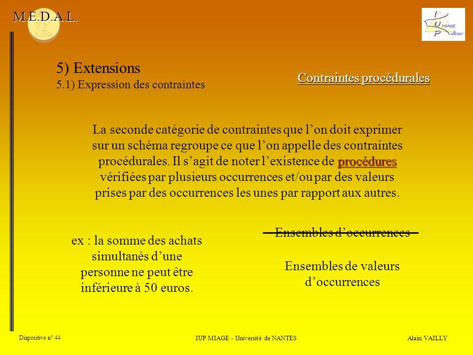 Alain VAILLY Diapositive n° 44 IUP MIAGE - Université de NANTES M.E.D.A.L. 5) Extensions 5.1) Expression des contraintes Contraintes procédurales proc