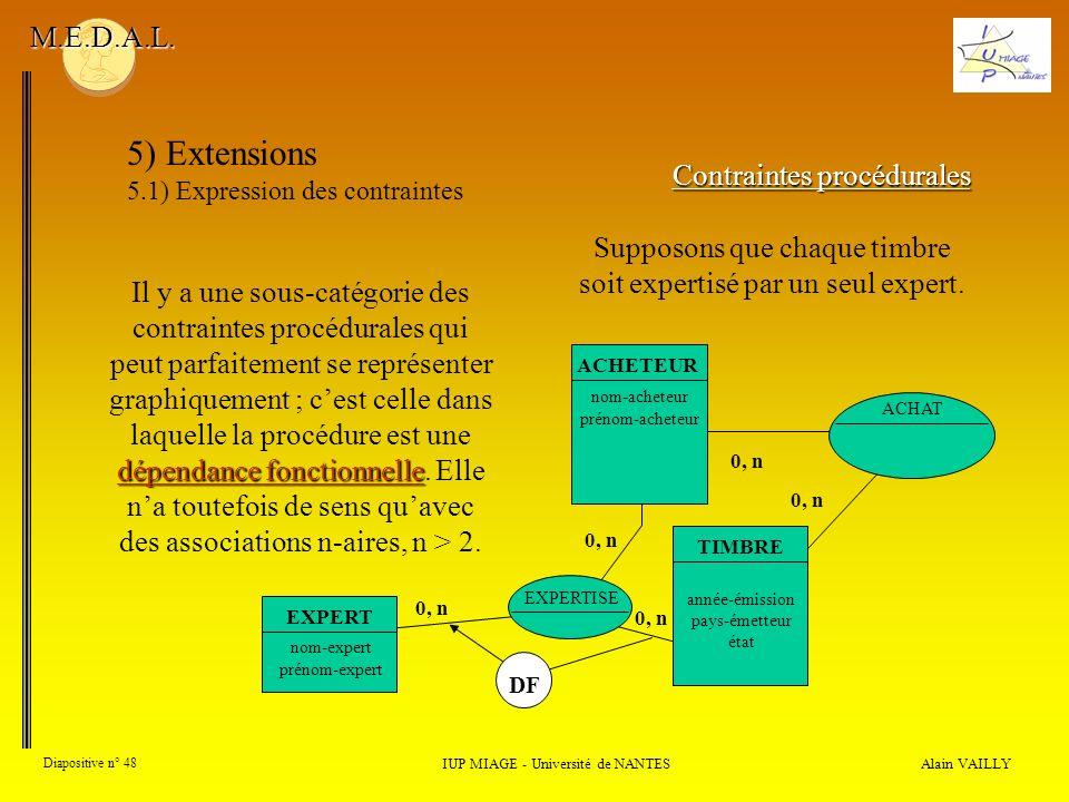 Alain VAILLY Diapositive n° 48 IUP MIAGE - Université de NANTES M.E.D.A.L. 5) Extensions 5.1) Expression des contraintes Contraintes procédurales dépe