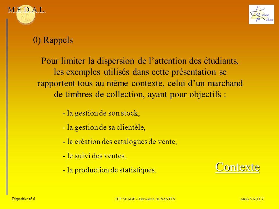Alain VAILLY Diapositive n° 17 IUP MIAGE - Université de NANTES M.E.D.A.L.