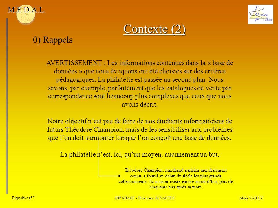Alain VAILLY Diapositive n° 7 0) Rappels IUP MIAGE - Université de NANTES M.E.D.A.L. AVERTISSEMENT : Les informations contenues dans la « base de donn