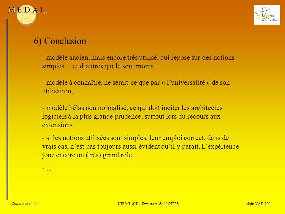 Alain VAILLY Diapositive n° 79 IUP MIAGE - Université de NANTES M.E.D.A.L. 6) Conclusion - modèle à connaître, ne serait-ce que par « luniversalité »
