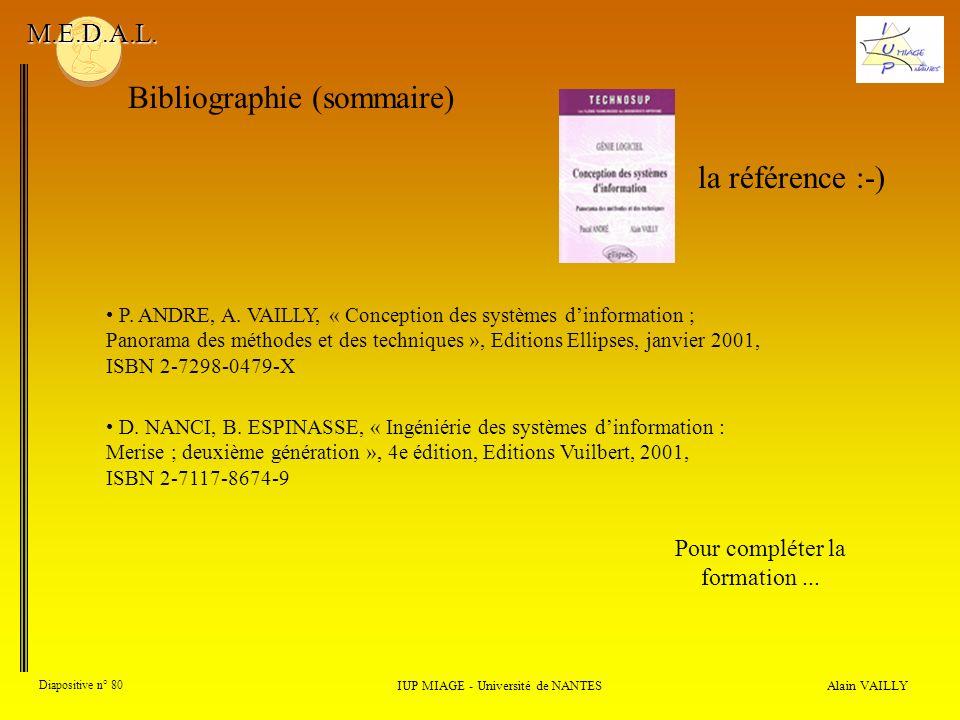 Alain VAILLY Diapositive n° 80 Bibliographie (sommaire) IUP MIAGE - Université de NANTES M.E.D.A.L. Pour compléter la formation... la référence :-) P.