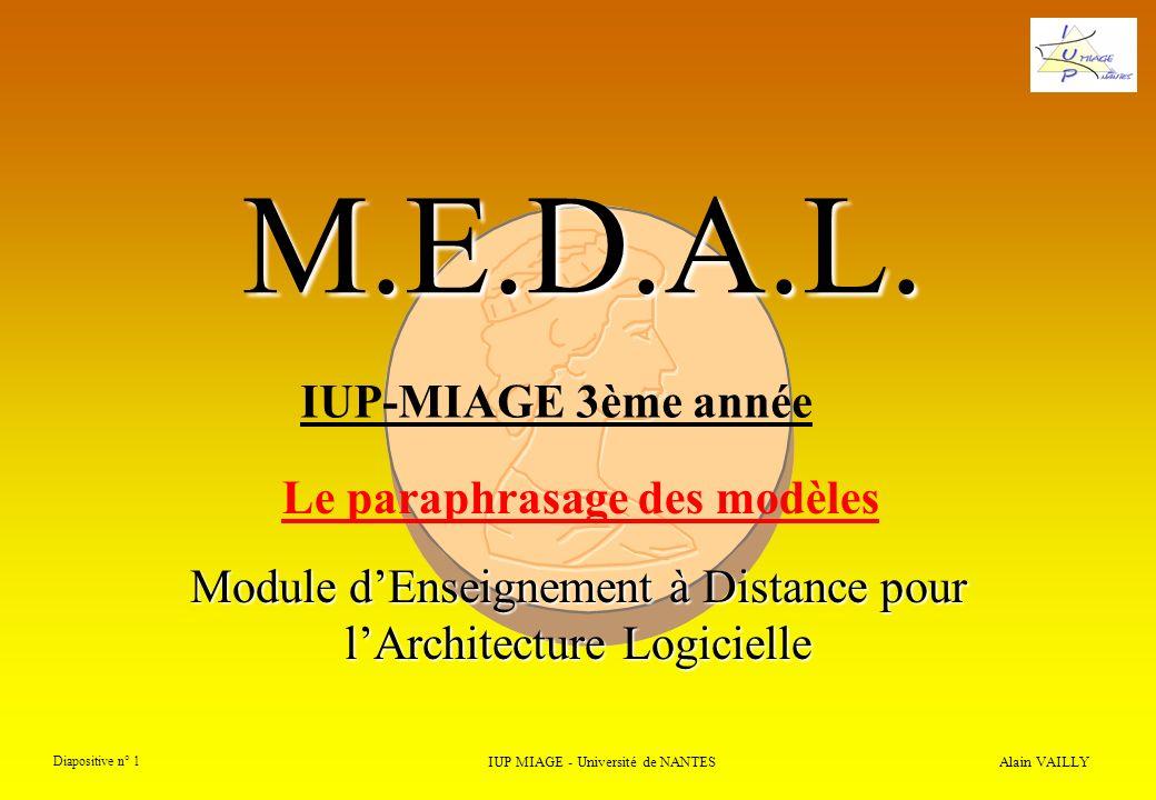 Alain VAILLY Diapositive n° 12 IUP MIAGE - Université de NANTES M.E.D.A.L.