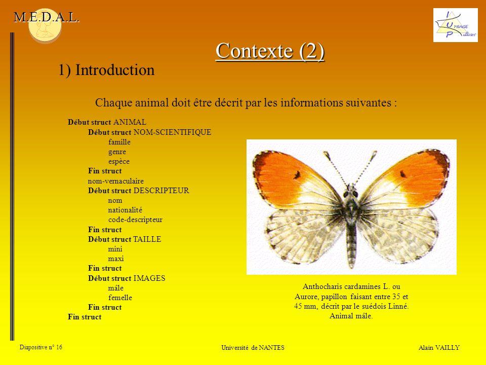 Alain VAILLY Diapositive n° 16 1) Introduction Université de NANTES M.E.D.A.L. Chaque animal doit être décrit par les informations suivantes : Début s