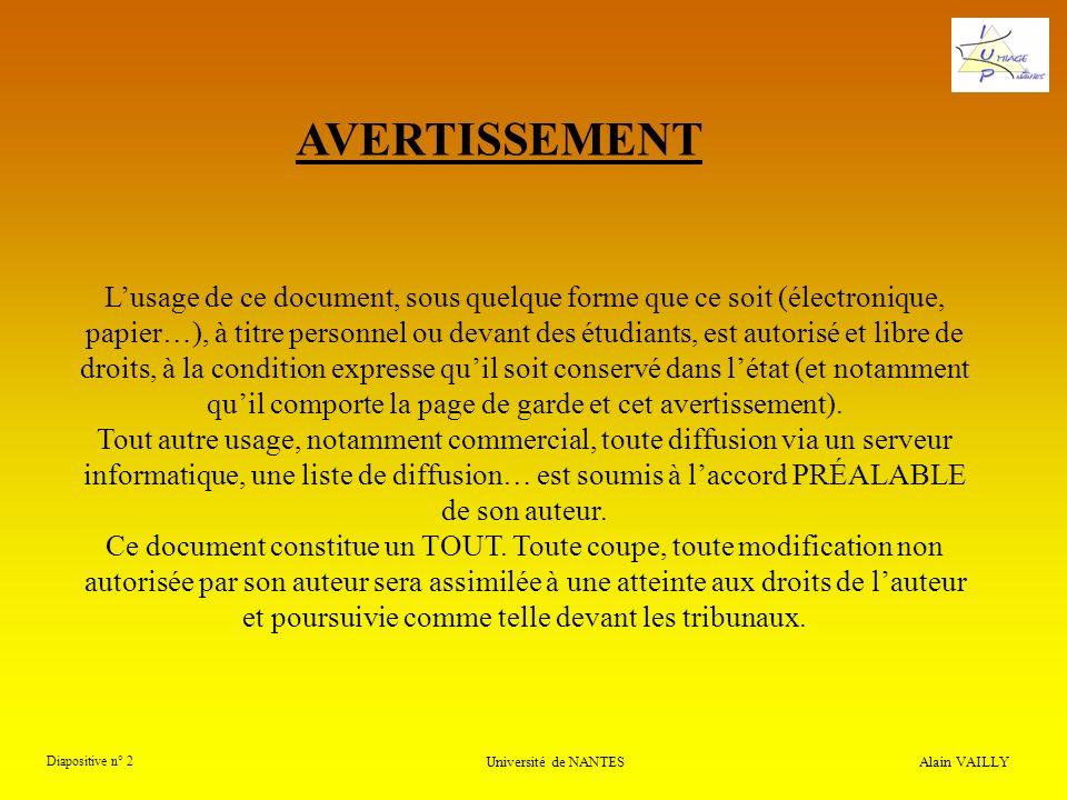 Alain VAILLY Diapositive n° 2 Université de NANTES Lusage de ce document, sous quelque forme que ce soit (électronique, papier…), à titre personnel ou