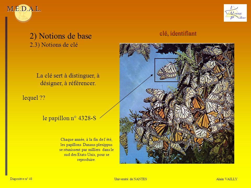 Alain VAILLY Diapositive n° 48 Université de NANTES M.E.D.A.L. 2) Notions de base 2.3) Notions de clé clé, identifiant La clé sert à distinguer, à dés