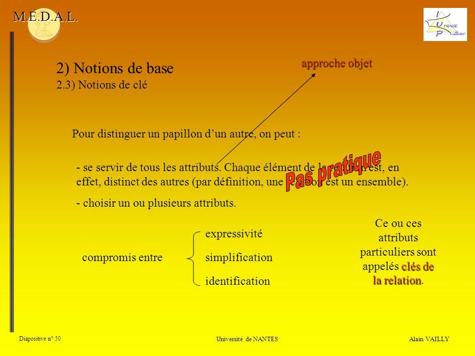Alain VAILLY Diapositive n° 50 Université de NANTES M.E.D.A.L. 2) Notions de base 2.3) Notions de clé Pour distinguer un papillon dun autre, on peut :