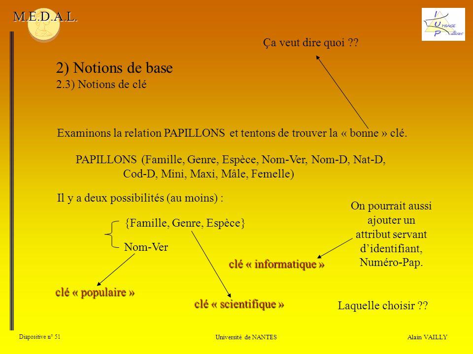 Alain VAILLY Diapositive n° 51 Université de NANTES M.E.D.A.L. 2) Notions de base 2.3) Notions de clé Examinons la relation PAPILLONS et tentons de tr