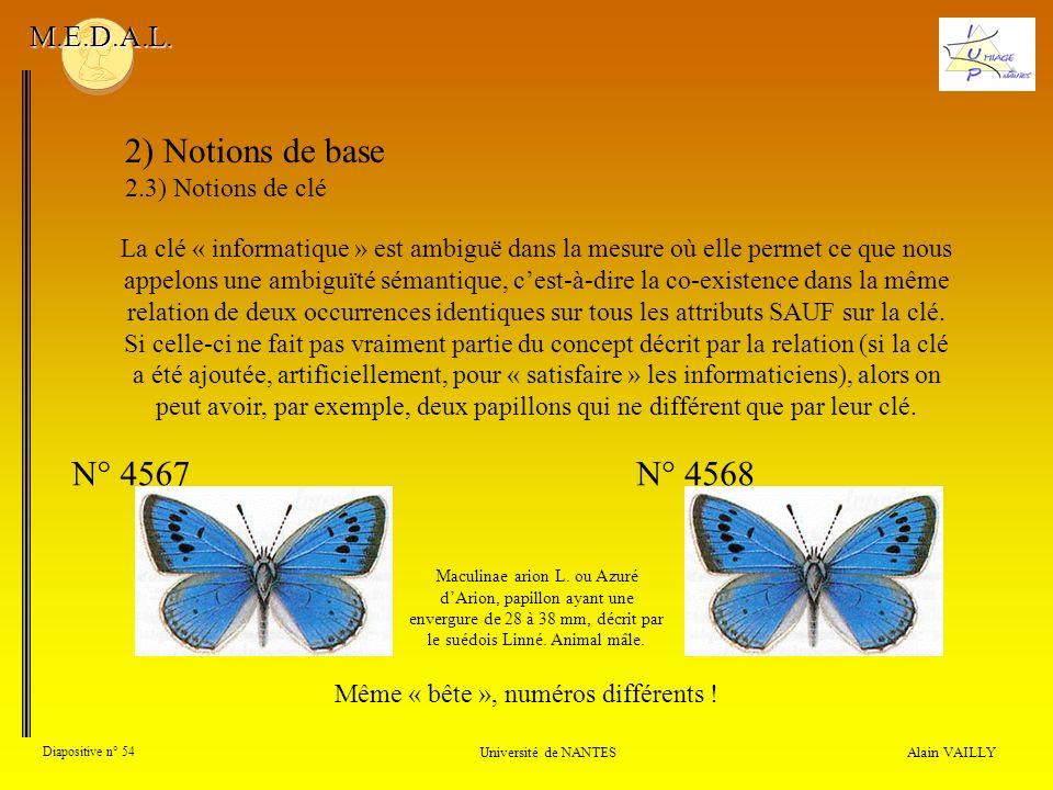 Alain VAILLY Diapositive n° 54 Université de NANTES M.E.D.A.L. 2) Notions de base 2.3) Notions de clé La clé « informatique » est ambiguë dans la mesu