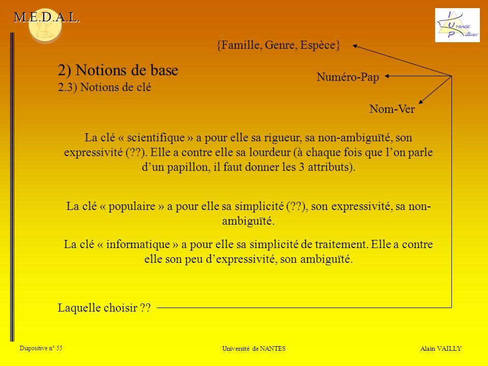 Alain VAILLY Diapositive n° 55 Université de NANTES M.E.D.A.L. 2) Notions de base 2.3) Notions de clé La clé « scientifique » a pour elle sa rigueur,