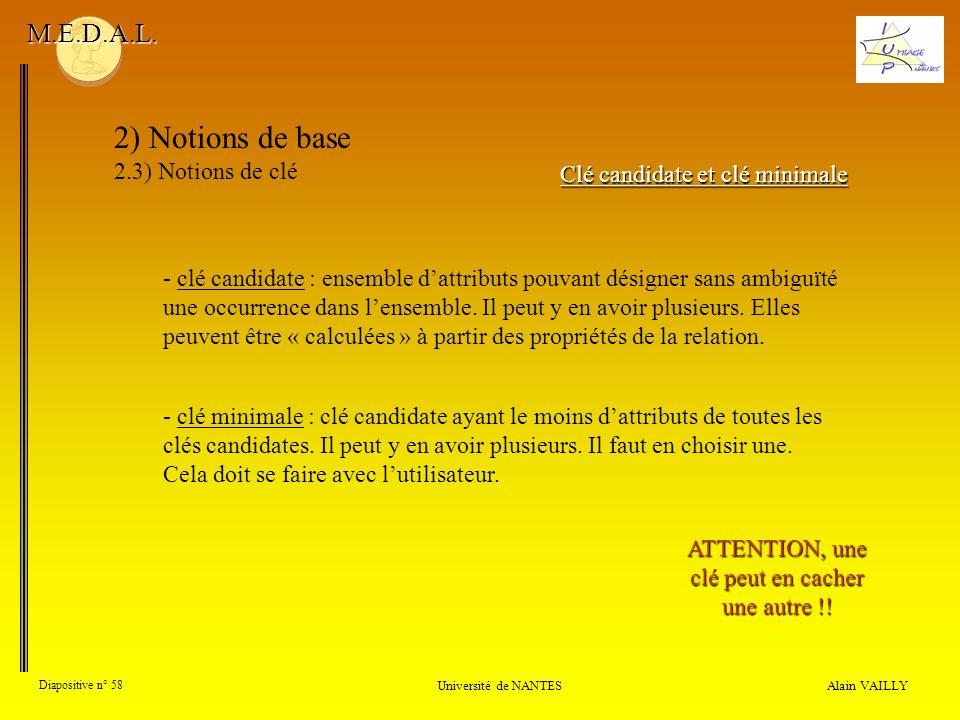 Alain VAILLY Diapositive n° 58 Université de NANTES M.E.D.A.L. 2) Notions de base 2.3) Notions de clé Clé candidate et clé minimale - clé candidate :