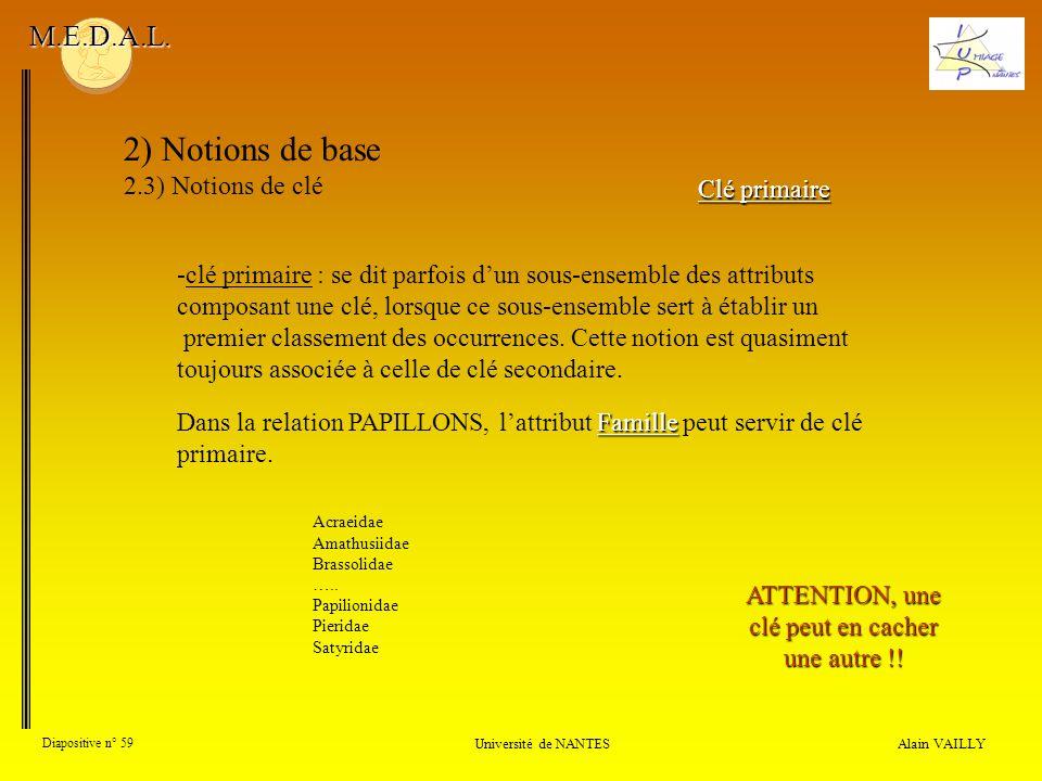 Alain VAILLY Diapositive n° 59 Université de NANTES M.E.D.A.L. 2) Notions de base 2.3) Notions de clé Clé primaire -clé primaire : se dit parfois dun