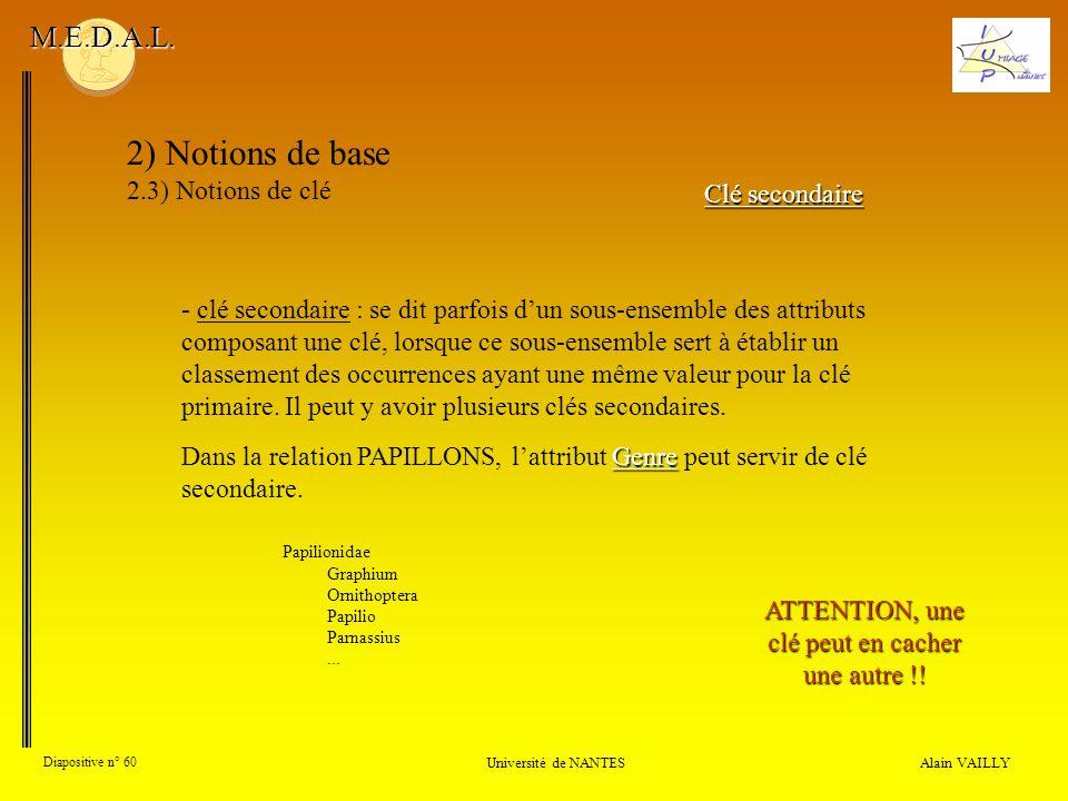 Alain VAILLY Diapositive n° 60 Université de NANTES M.E.D.A.L. 2) Notions de base 2.3) Notions de clé Clé secondaire - clé secondaire : se dit parfois