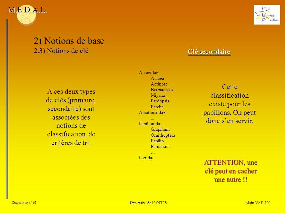 Alain VAILLY Diapositive n° 61 Université de NANTES M.E.D.A.L. 2) Notions de base 2.3) Notions de clé Clé secondaire A ces deux types de clés (primair