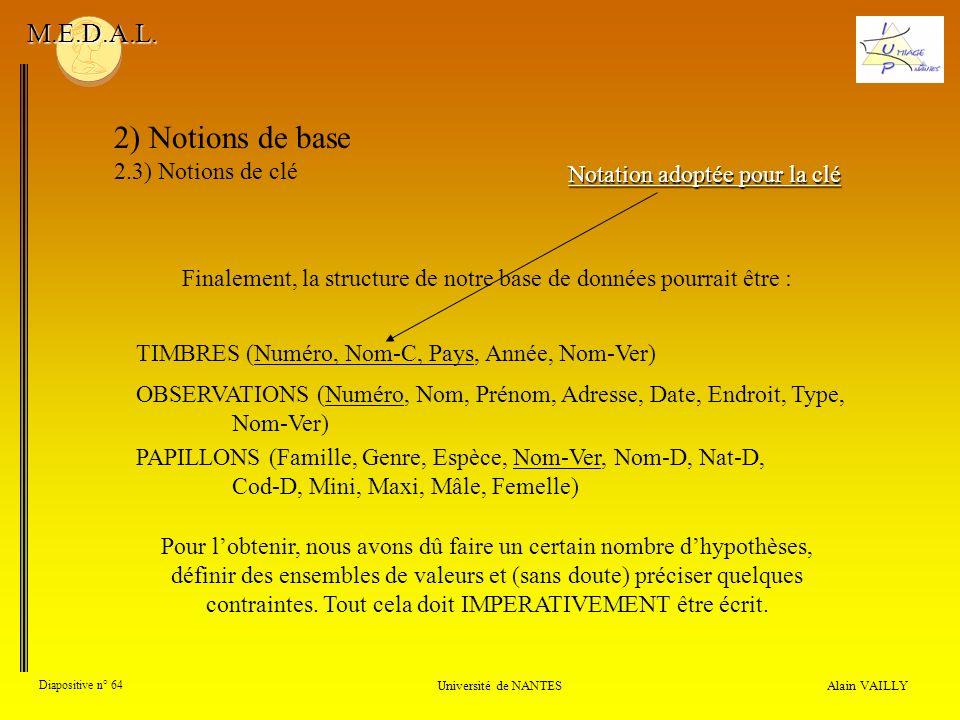 Alain VAILLY Diapositive n° 64 Université de NANTES M.E.D.A.L. 2) Notions de base 2.3) Notions de clé TIMBRES (Numéro, Nom-C, Pays, Année, Nom-Ver) OB