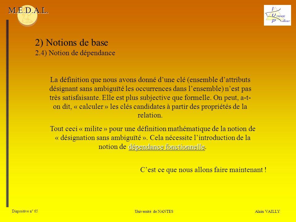 Alain VAILLY Diapositive n° 65 Université de NANTES M.E.D.A.L. 2) Notions de base 2.4) Notion de dépendance La définition que nous avons donné dune cl