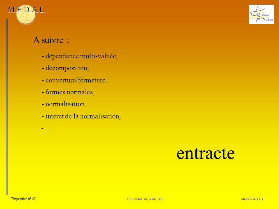 Alain VAILLY Diapositive n° 82 Université de NANTES M.E.D.A.L. A suivre : - couverture/fermeture, - formes normales, - normalisation, - intérêt de la