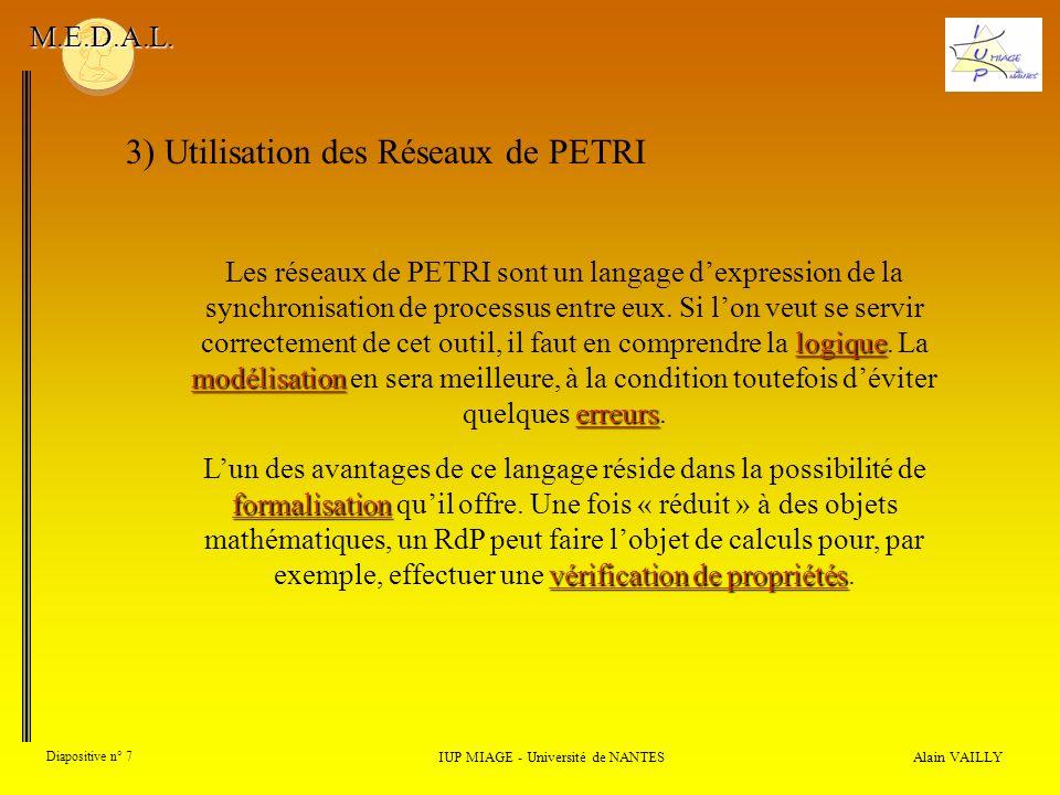 logique modélisation erreurs Les réseaux de PETRI sont un langage dexpression de la synchronisation de processus entre eux.