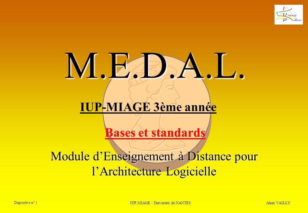 Alain VAILLY Diapositive n° 22 IUP MIAGE - Université de NANTES M.E.D.A.L. 3) UN standard ? classes