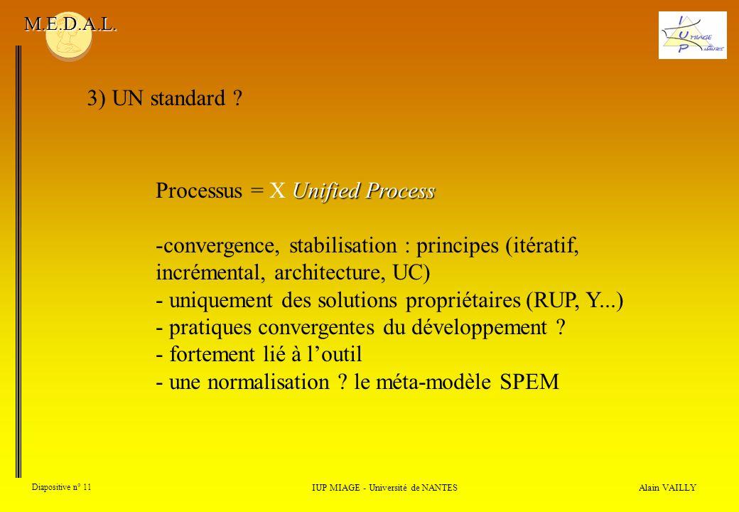 Alain VAILLY Diapositive n° 11 3) UN standard ? IUP MIAGE - Université de NANTES M.E.D.A.L. Unified Process Processus = X Unified Process -convergence