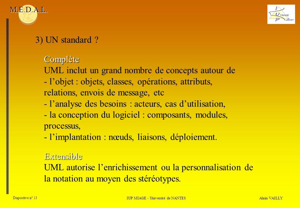 Alain VAILLY Diapositive n° 13 3) UN standard ? IUP MIAGE - Université de NANTES M.E.D.A.L. Complète UML inclut un grand nombre de concepts autour de