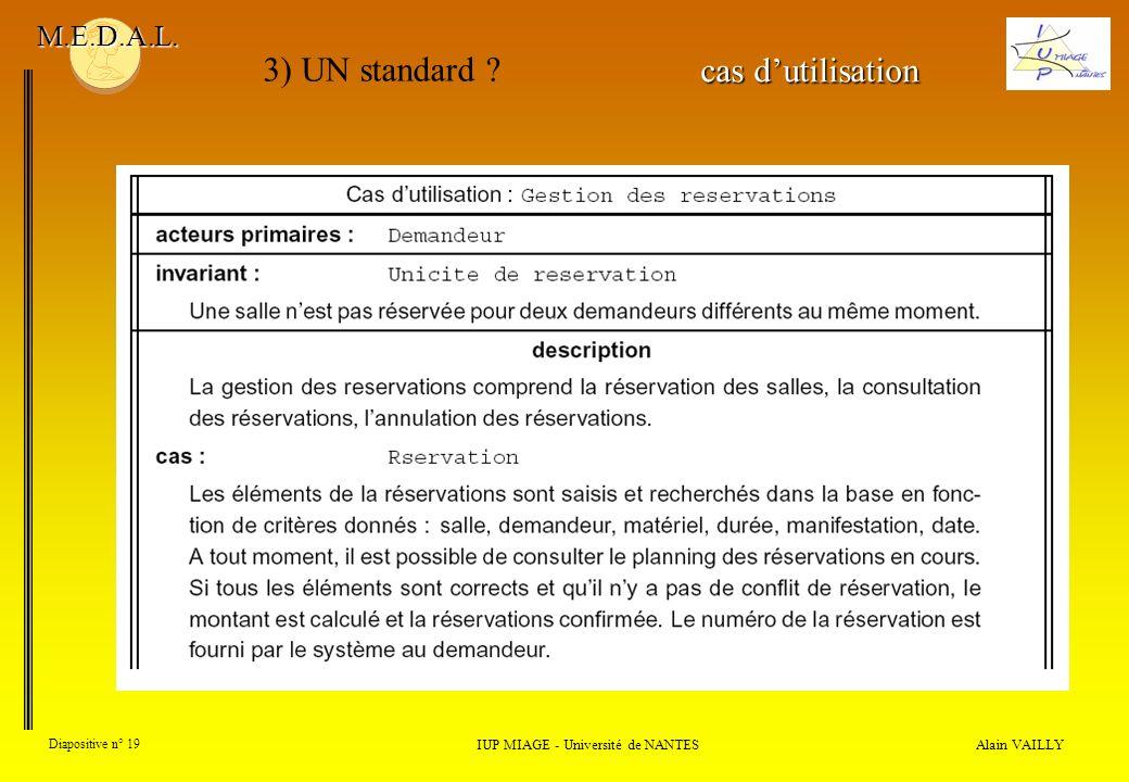 Alain VAILLY Diapositive n° 19 IUP MIAGE - Université de NANTES M.E.D.A.L. 3) UN standard ? cas dutilisation