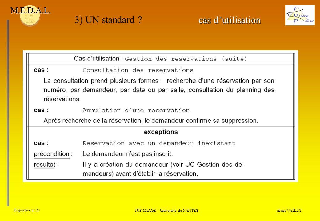 Alain VAILLY Diapositive n° 20 IUP MIAGE - Université de NANTES M.E.D.A.L. 3) UN standard ? cas dutilisation