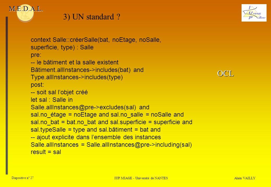 Alain VAILLY Diapositive n° 27 IUP MIAGE - Université de NANTES M.E.D.A.L. context Salle::créerSalle(bat, noEtage, noSalle, superficie, type) : Salle