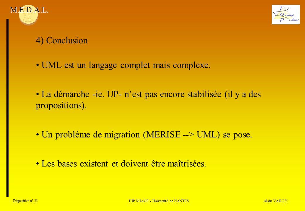 Alain VAILLY Diapositive n° 33 IUP MIAGE - Université de NANTES M.E.D.A.L. 4) Conclusion UML est un langage complet mais complexe. La démarche -ie. UP