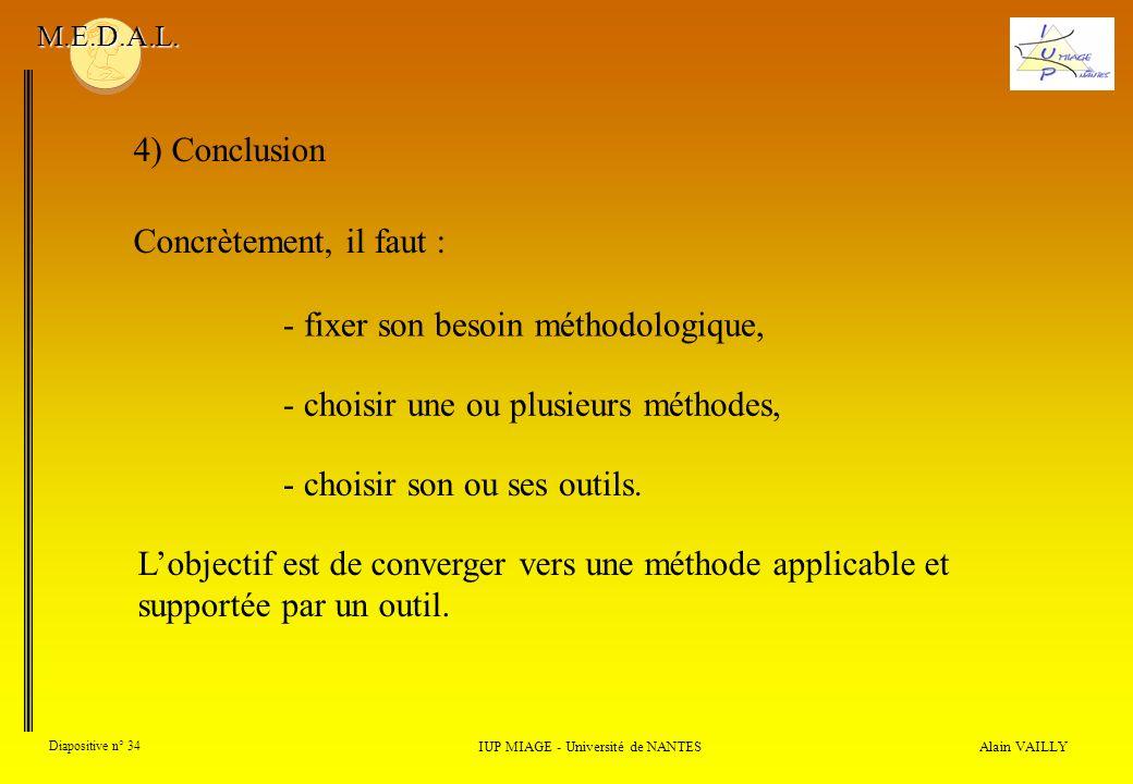 Alain VAILLY Diapositive n° 34 IUP MIAGE - Université de NANTES M.E.D.A.L. 4) Conclusion Concrètement, il faut : - fixer son besoin méthodologique, -
