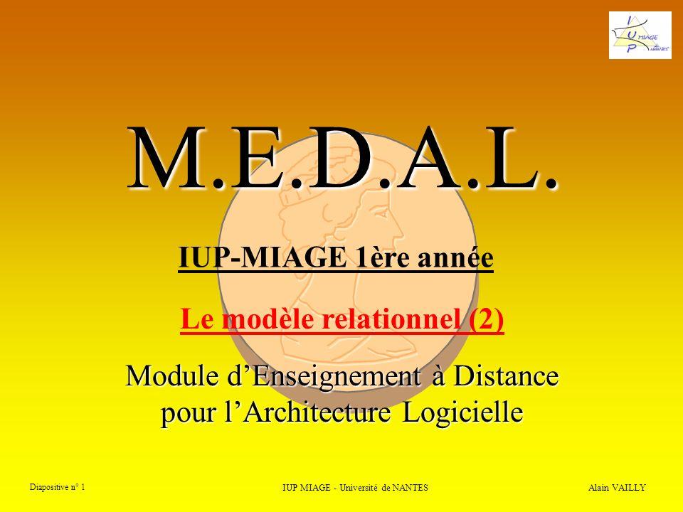 3) Normalisation et décomposition 3.2.3) Algorithmes de décomposition Alain VAILLY Diapositive n° 62 IUP MIAGE - Université de NANTES M.E.D.A.L.