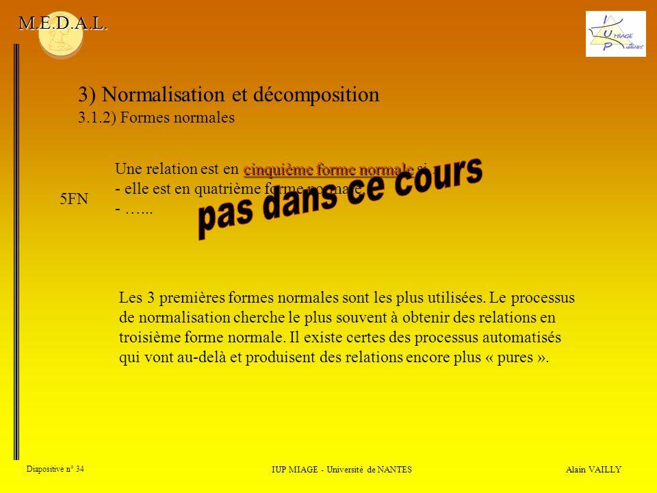 3) Normalisation et décomposition 3.1.2) Formes normales Alain VAILLY Diapositive n° 34 IUP MIAGE - Université de NANTES M.E.D.A.L. Les 3 premières fo