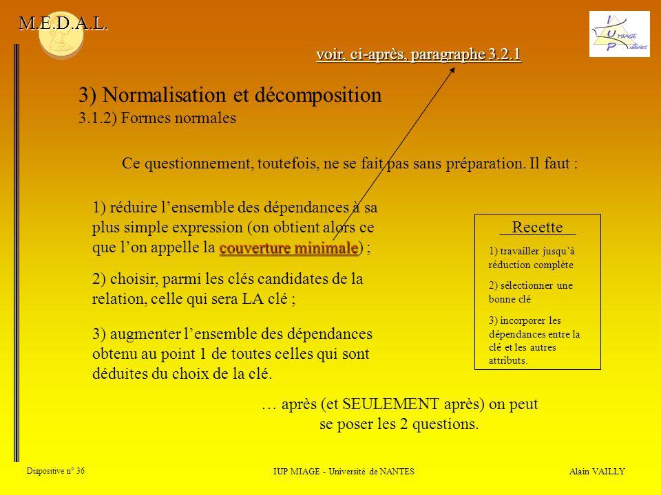 3) Normalisation et décomposition 3.1.2) Formes normales Alain VAILLY Diapositive n° 36 IUP MIAGE - Université de NANTES M.E.D.A.L. Ce questionnement,